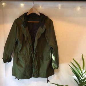 Jackets & Blazers - Army Green lightweight raincoat with polka dots